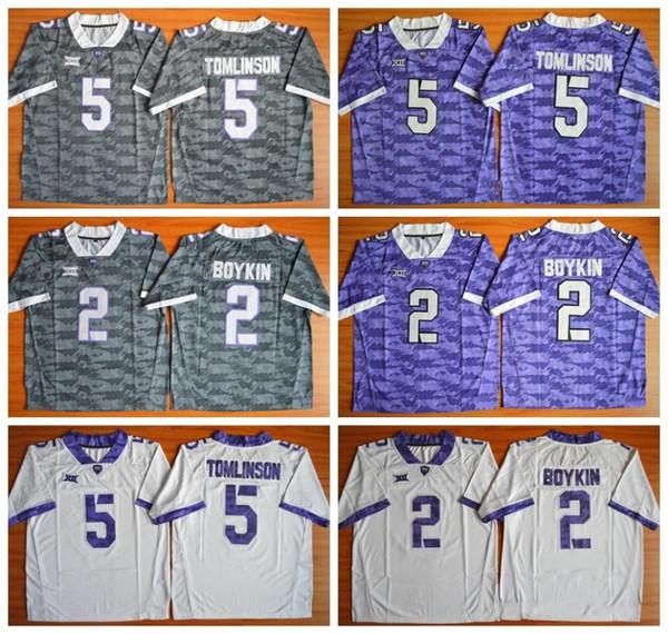 hot sale online f70d1 b11aa 2019 NCAA TCU Horned Frogs Football Jerseys College 2 Trevone Boykin 5  LaDainian Tomlinson Color Gray Purple White From Movie_jersey, $18.28 | ...