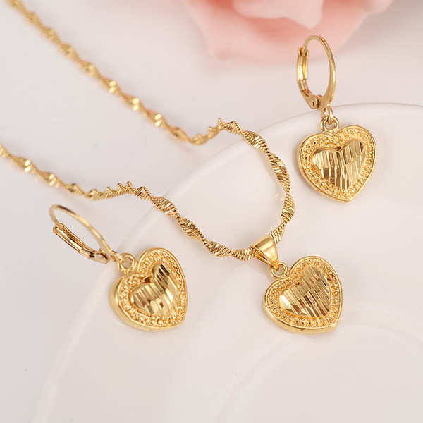 18 k Solid gold GF Necklace Earring Set Women Party Gift Dubai love heart crown Jewelry Sets bridal party gift DIY charms girls