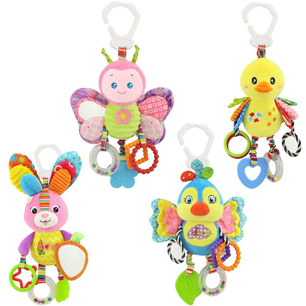 Happy Monkey Plush Bed Baby Toys Hanging Baby Rattle Mobiles Stroller Toys Rabbit BB bed Bell Paper Rubber Rings 0-12 months
