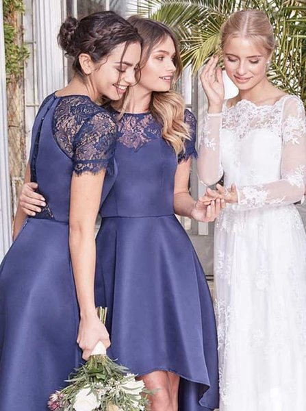 2019 Sexy A-Line Jewel Navy Blue High Low Bridesmaid Dresses Hi-Lo Short Sleeve For Wedding Romantic Evening Gowns