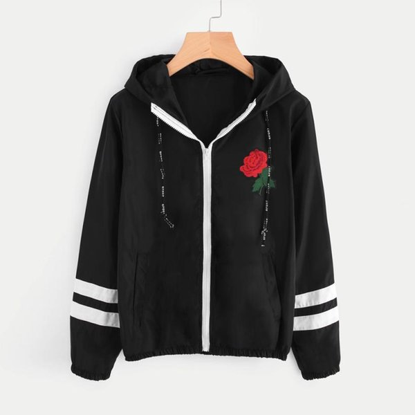 Outerwear & Coats Jackets Women Rose Thin Skinsuits Hooded Zip Floral Pockets Sport coats and jackets women 2018DEC1