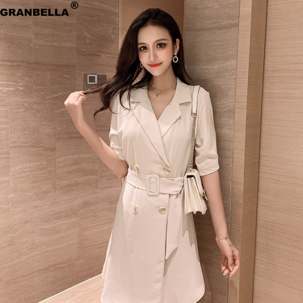 2019 New OL Style Double Breasted Blazer Dress For Business Women Elegant Slim Casual Summer Dresses With Belt
