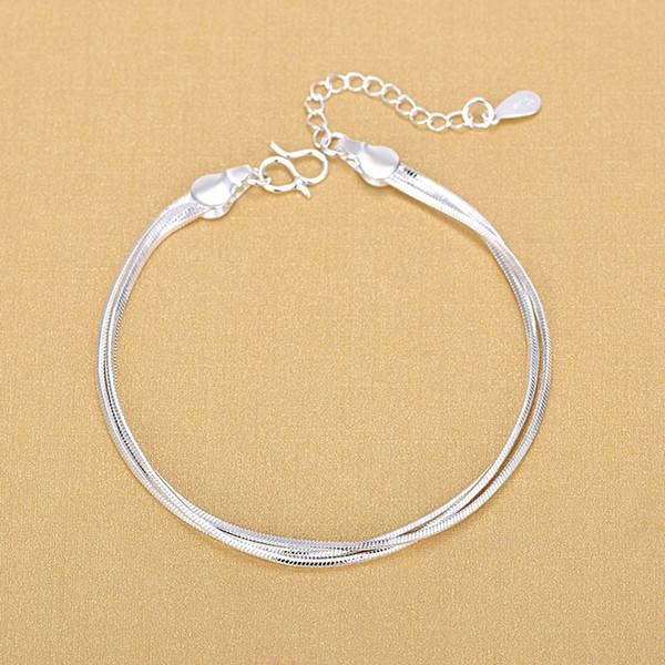 Fashion silverplated threewire snake bone bracelet simple footwear European and American fashion jewelry wholesale