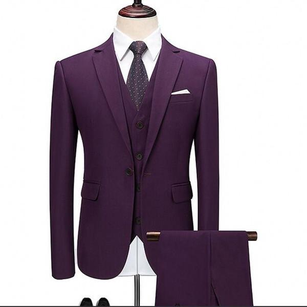 pourpre Smokings de mariage 2019 One Button entaillé Lapel costumes Groomsmen occasion Prom Wear Trois pièces (veste + pantalon)