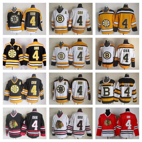 pretty nice b2c78 43b32 High Quality Mens #4 Bobby Orr Jersey Boston Bruins Chicago Blackhawks  Bobby Orr Hockey Jerseys Vintage CCM 4 Bruins Lace Stitched A Patch UK 2019  ...