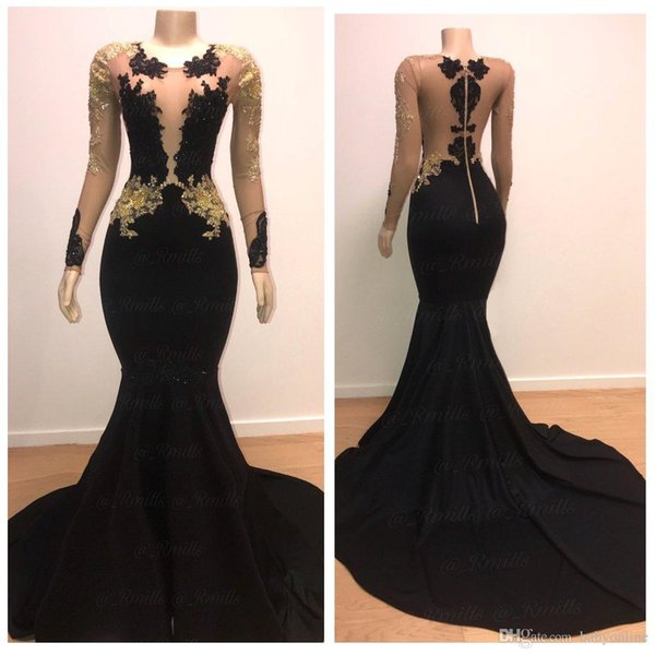 Black and Gold Mermaid Prom Dresses with Long Sleeve 2019 Jewel Neckline Sheer Bead Lace Formal Evening Gowns Cocktail Party Celebrity Dress