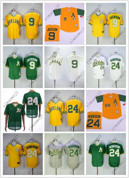 the latest a5f31 2ea41 2019 Cheap Atheltics Throwback Jerseys 9#/24# CAMPANERIS Cream White Yellow  Green Baseball Jerseys Shirt Stitched Top Quality ! From Yiwanwuji, $28.0  ...
