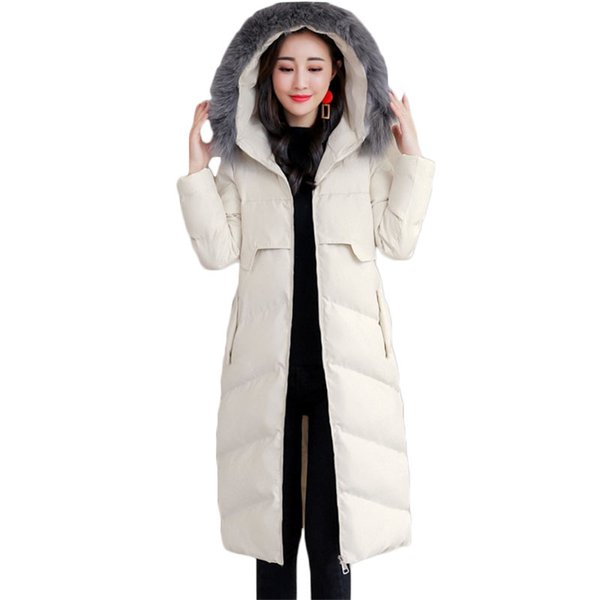 New Winter Warm coat Women Slim Thicken Long Down cotton jacket Women's High quality Hooded Fur collar Outerwear Parkas A1074