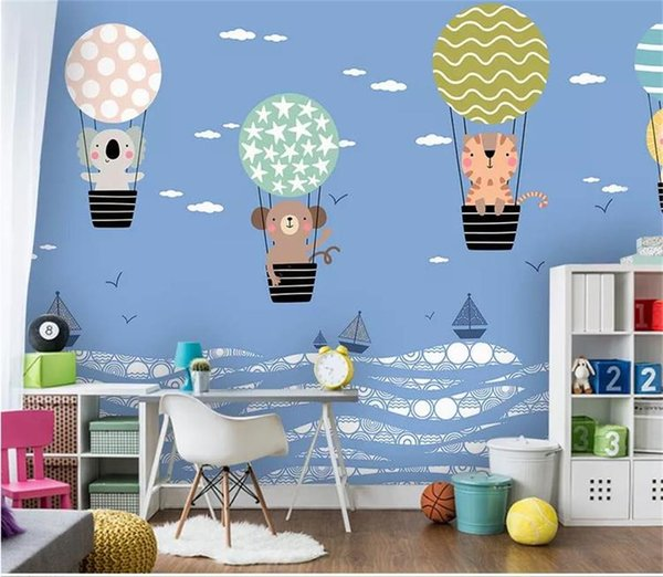 Custom Size 3d Photo Wallpaper Mural Kids Room Hand Painted Hot Balloon Panda 3d Picture Sofa Tv Backdrop Wallpaper Mural Non Woven Sticker Wallpapers