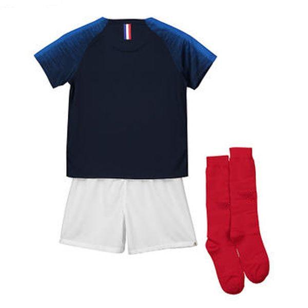 Socks Soccer Jersey Shirt 201819 MBAPPE10 GRIEZMANN POGBA KANTE Home Away Football Shirts For Kids Free Socks Maillots Children Jerysey sets