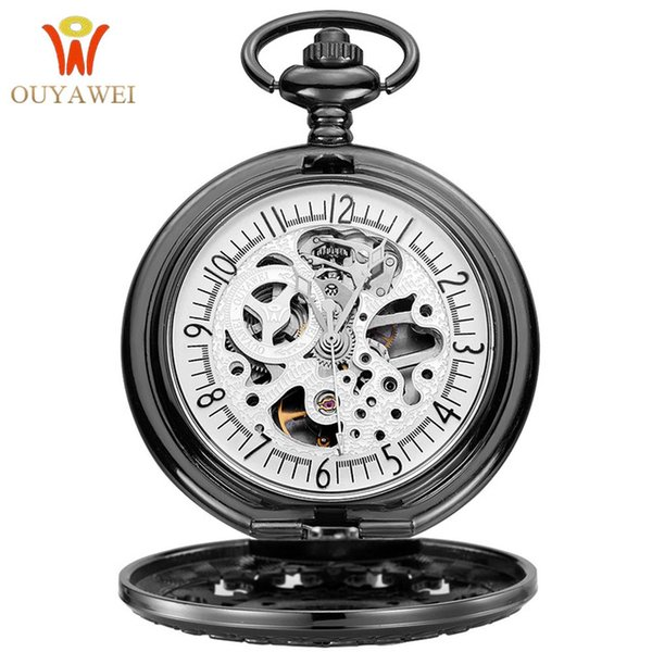 NEW Arrival Pocket Watch OUYAWEI Men's Fashion Mechanical Skeleton Clock Hand Wind Black Stainless Steel Case White Dial 2019