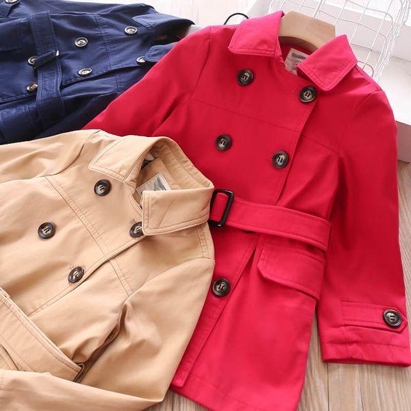 Новые детские пальто длинные девочки пальто мода детская верхняя одежда детская дизайнерская одежда девушки пальто случайные девушки осень бутик одежды A7684