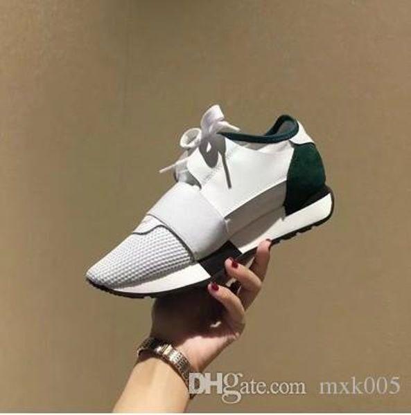 2019 Chaussures Fashion Luxury Designer Shoes Race Paris Trainers White Black Dress De Luxe Sneakers Men Women Casual Shoe 889601