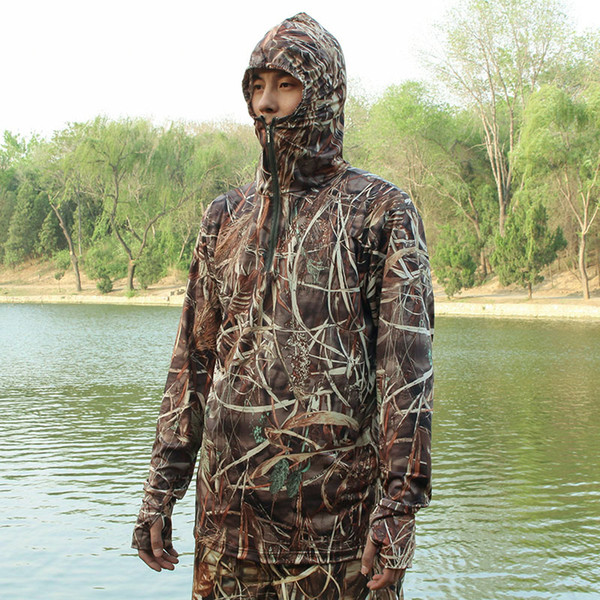 Men's Camouflage Fishing Hoodie Men Outdoor Sweatshirt Men's Hiking Shirt Grass Bionic Camouflage Hunting Shirt Hunting Tops