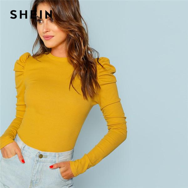Shein Mustard Elegant Minimalist Puff Sleeve Rib Knit Solid Pullovers Slim Fit Tee 2018 Autumn Office Lady Women T-shirt Top Y190522