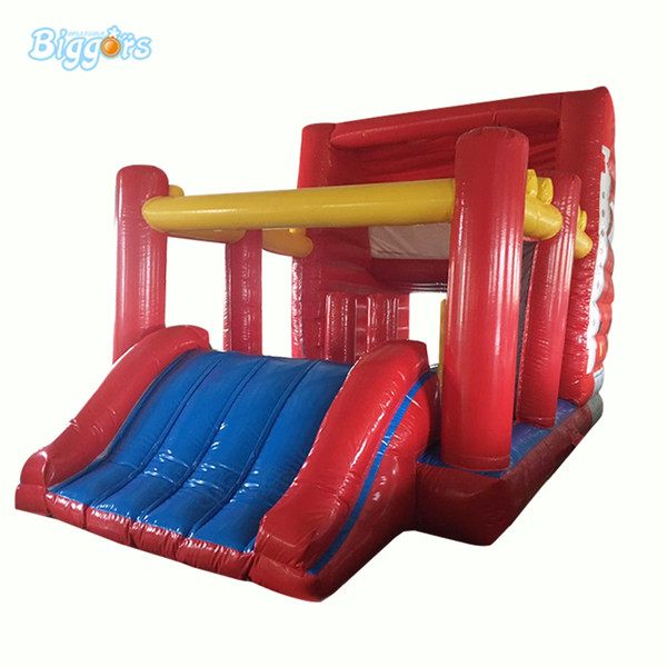 In stock PVC commercial grade bouncy castle,car shape bounce house with slide and obstacle course game.