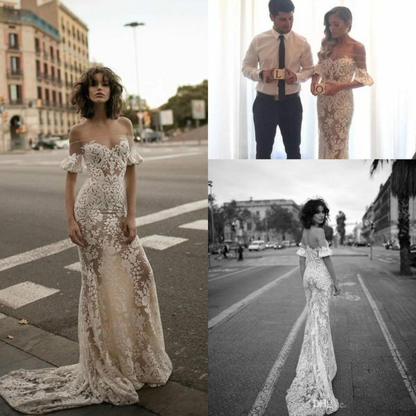 Liz Martinez Mermaid Country Wedding Dresses Sexy Off Shoulders Short Sleeve Full Lace See Through Bridal Dresses Applique Modest Design