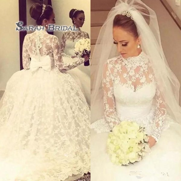 top popular Vintage High Neck Full Lace Wedding Dresses Princess Sheer Neck Long Sleeves Wedding Gowns Back Bow Ball Gown Bridal Gowns 2020
