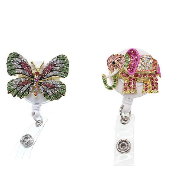 10pcs/lot Sparkly Rhinestone Nurse Medical Doctor Symbol Animal Butterfly Elephant Shape Retractable Badge Reel Holder Clip Name Badge Reel