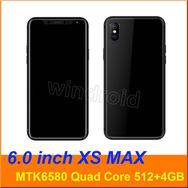 XS MAX 6 inch MTK6580 Quad Core Smartphone 512 4GB Android 6.1 960*540 Dual SIM 3G WCDMA Unlocked Mobile phone Gesture wake big screen Phone