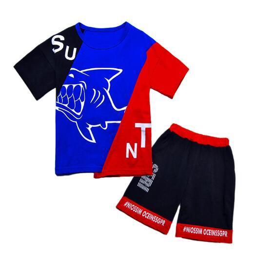 Marca Bambini Imposta bambini T-shirt e pantaloncini Pantaloni bambini Tute bambini Tuta sportiva 2 pezzi / set manica corta imposta estate BIOCDE