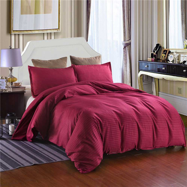 Solid Color Striped Home/Hotel Style Duvet Cover Pillowcase Set Twin Double/Full/Queen/King Size Bedding (No Sheet No Filling)