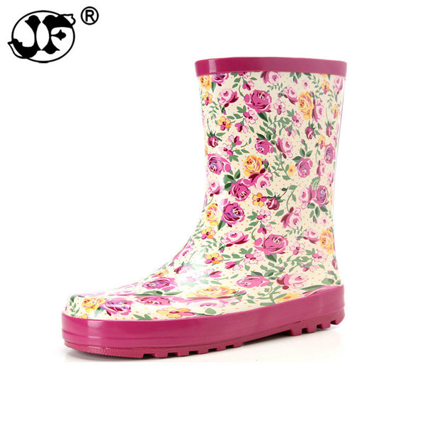 2018 Fashion Band Solid Women Rain Boot Waterproof Women Boots Rubber Jade Stretch Shoes