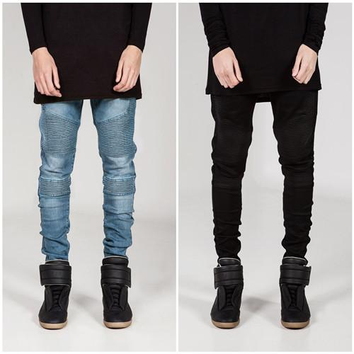 Men Pencil Pants BIKER JEANS Draped Stylish Slim Fit Jeans High Street Clothes for Men Spring Autumn Denim Trousers Pleated Designer Clothin