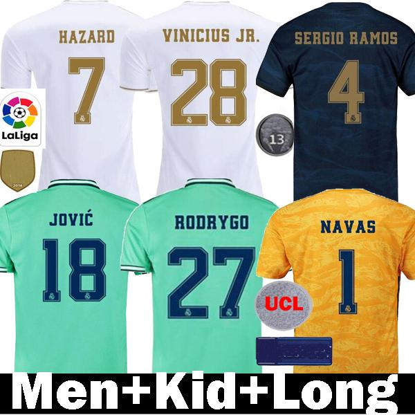 top popular Thailand 19 20 HAZARD Real Madrid soccer jerseys 2019 2020 camiseta kids RM JOVIC Bale JOVIC RODRYGO VINICIUS JR.SERGIO RAMOS Football Shirt 2019
