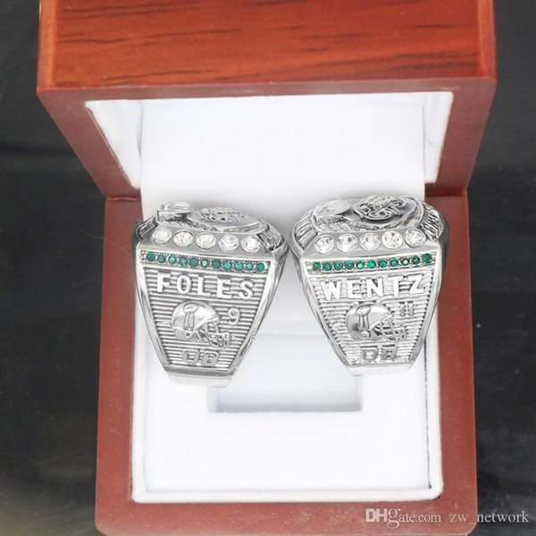 DHL 2017-2018 Philadelphia Eagles Ring Football Super Bowl LII World Foles Wentz Championship Replica Ring with wooden box Foles Wentz Ring