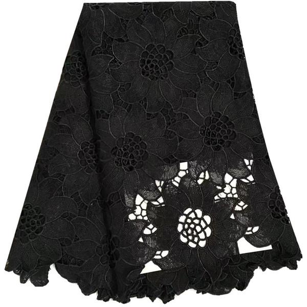 Neue Ankunft Schwarze Farbe Afrikanische Spitzegewebe Hohe Qualität Cord Guipure-spitze Stoff Frauen Nigerianischen Wasserlösliche ...