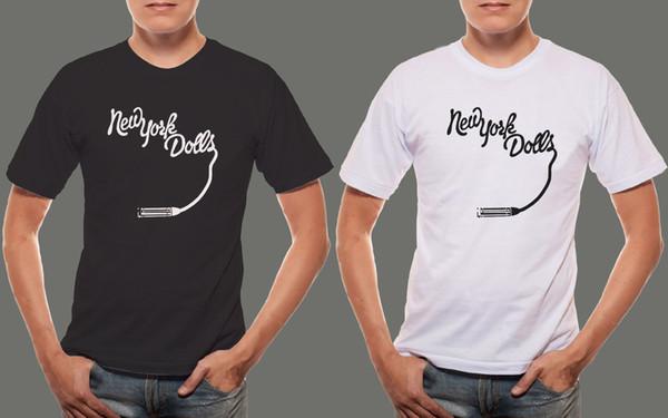 New York Dolls *Lipstick Logo Hard Rock Band Logo Men's Black & White T shirt