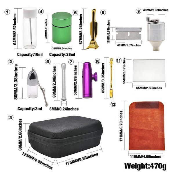 Pipes Kits Set With 12Pieces Herb Grinder Snuff Pill Box Bottle Snorter Dispenser Nasal Case Container Storage Smoking Zipper DHL