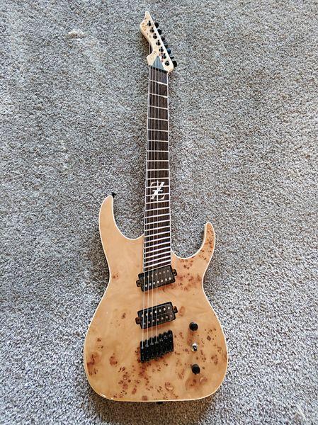 Personalizado de sete cordas fã guitarra elétrica, cor de madeira e fingerboard asa de frango