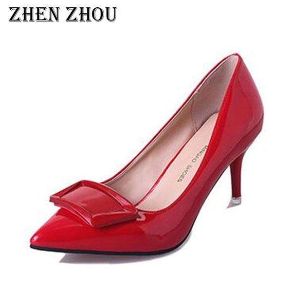 Dress Shoes Zhenzhou High Heels 2019 Hot Sale Butterfly-knot Thin Heels Pointed Toe Pu Shallow Office&career Pumps Women's