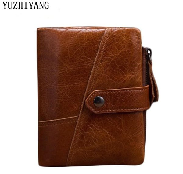 high quality oil wax man wallet leather genuine fashion brown man purse with money clip small mens wallet short