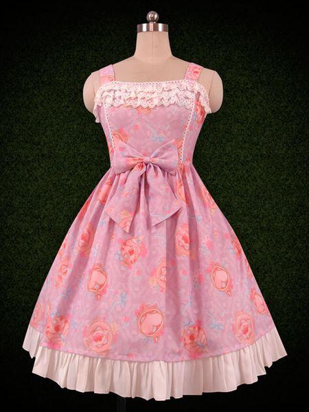 Doce Vestido Lolita Impresso Ruffle e Bow Lolita Jumper saia do vestido da menina bonito