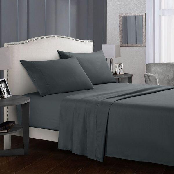 Graue Queen-Size-Queen-Bettlaken Bettwäsche Einfarbig Flaches Blatt + Spannbetttuch + Etui Bettwäsche-Set