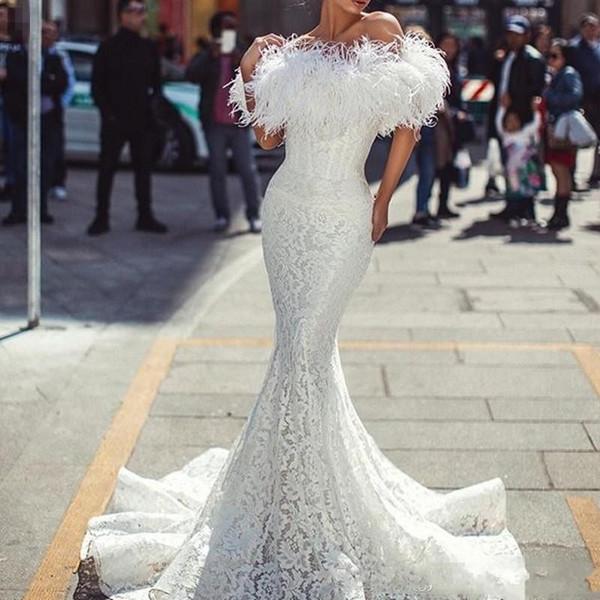 2020 nuevos atractivos de color blanco marfil vestidos de noche del desgaste de las mujeres del hombro de la sirena del cordón lleno de plumas de longitud de vestido de fiesta formal del partido Vestidos