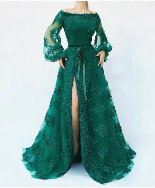 Новый Скромный Вечерние Платья Поэта Темно-Зеленый Линии Платье С Длинным Рукавом Сплит Пром Платье Арабский Бисероплетение Длинные Платья на Заказ
