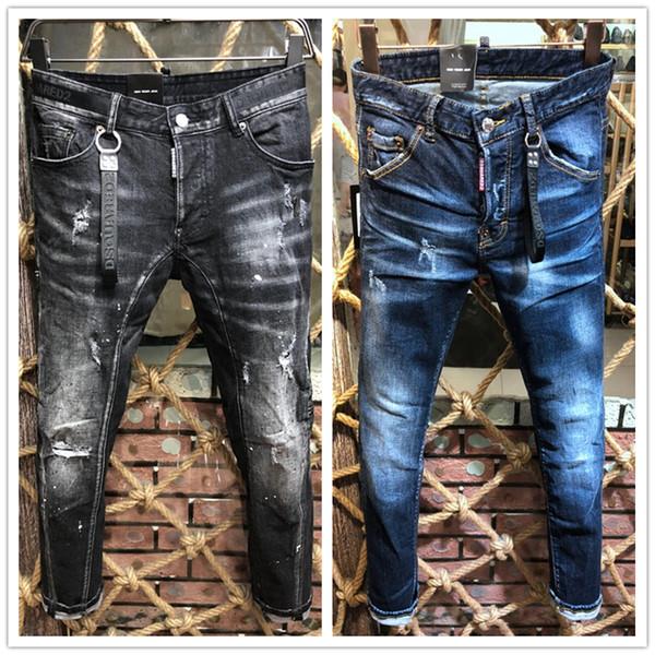 Mens a estrenar de lujo vaqueros desgastados vaqueros rasgados del motorista del ajustado de motorista de la motocicleta Denim Jeans 2019 pantalones diseñador de moda
