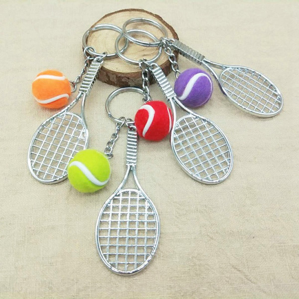 Simulation Tennis Racket Pendants Key Chain Hot Creative Sports Casual Car Key Ring School Tennis Team Gift Souvenirs Wholesale