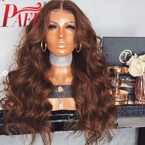 Parrucche piene del merletto dei capelli umani del Brown di PAF Onda brasiliana dei capelli di Remy dei capelli di Wave della parte centrale con i capelli del bambino