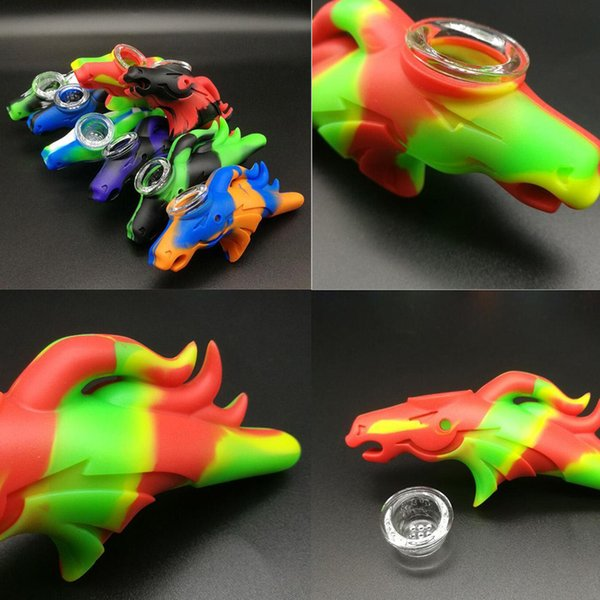 Cheap Silicone Pipe Smoking Oil Rig Bongs Dinosaur Hand Pipes With Glass Bowl Mix Colors 10 Pcs/lot