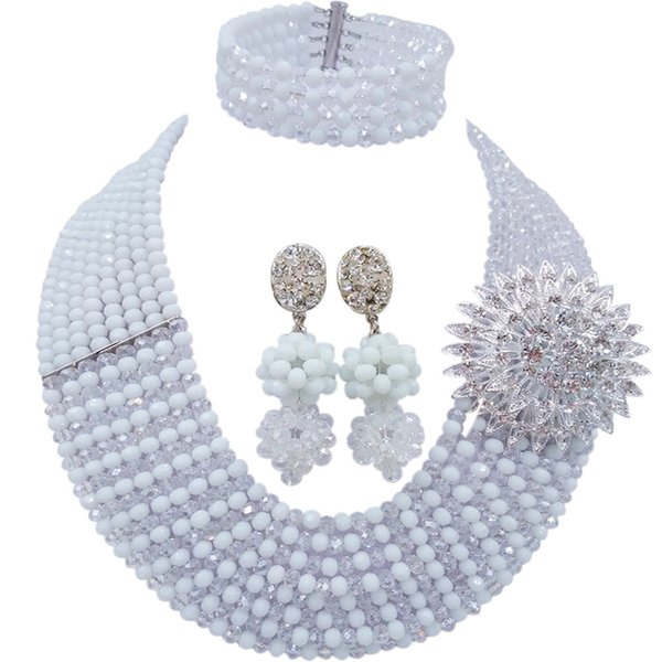 Fashionable White Clear AB African Jewelry Set Nigerian Beads Necklace Crystal Wedding Bridal Jewelry Sets 8JBK12
