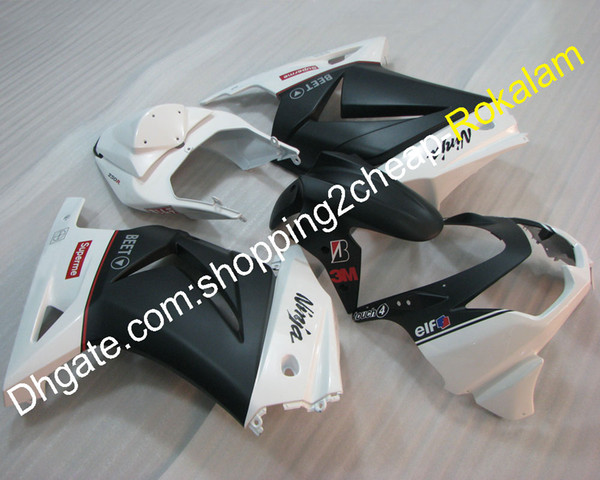 White Black Injection Fairings For Kawasaki EX250 ZX-250 2008 2009 2010 2011 2012 250 ZX 250R ABS Body Fairing Kit (Injection molding)