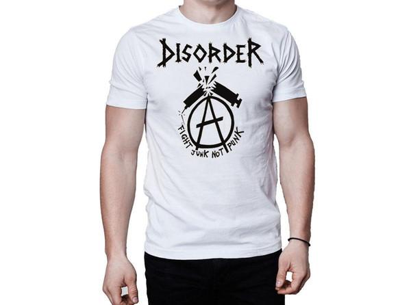 Disorder Fight Junk Not Punk Logo White T-Shirt Casual Short Sleeve T Shirt Novelty Harajuku Funny Rick Tee Shirts