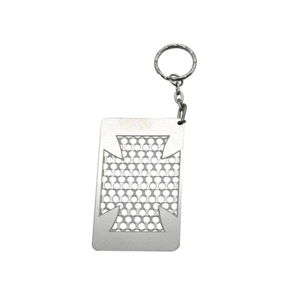 Good More Patterns Portable Keychain Card Shape Herb Grind Spice Miller Grinder Crusher Grinding Spring Metal For Smoking Tool Hot Cake