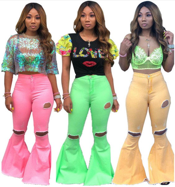 top popular Women washed denim pants designer jeans summer fall clothing ripped hollow out solid bodycon flared trouser streetwear hot selling 980 2020