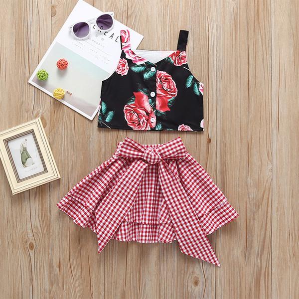 Kızlar Çiçek Parantez Tops + Yay Etekler Kıyafetler Yaz 2019 Butik 1-6Y için Çocuk Giysileri Küçük Kızlar Ekose Etekler 2 ADET Set Moda